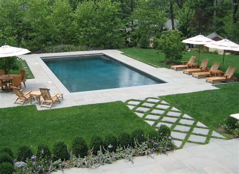 Rectangular Backyard Landscaping Ideas Rectangular Swimming Pool As Part Of Formal Nj Backyard Design Pool House Pinterest