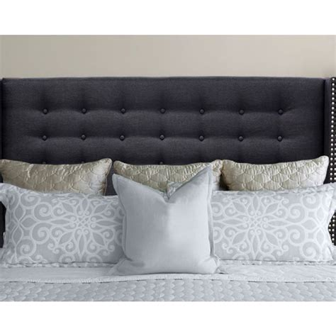 black studded headboard mayfair queen studded fabric wingback bedhead black buy