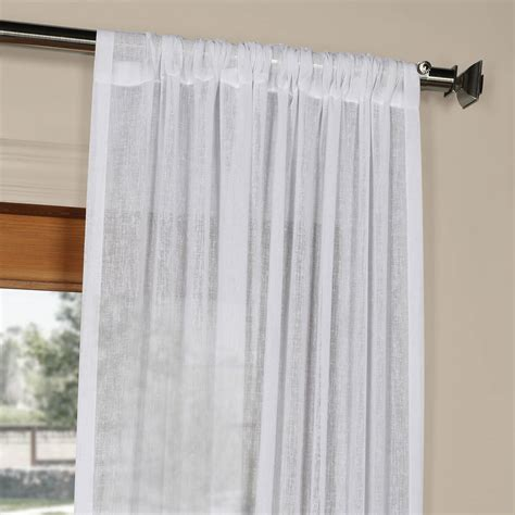 solid white curtains aspen white solid faux linen sheer curtain