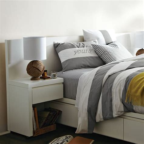 west elm white headboard storage bed nightstand white west elm