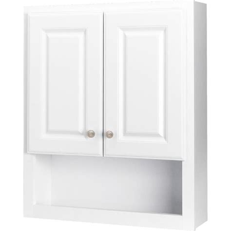 Bathroom Storage Cabinets Lowes Shop Style Selections 23 25 In W X 28 In H X 7 In D White Bathroom Wall Cabinet At Lowes
