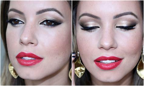 youtube tutorial de maquiagem tutorial de festa maquiagem dourada delineador batom