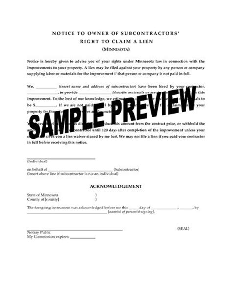 Minnesota Notice To Owner Of Subcontractor S Right To Claim A Lien Legal Forms And Business Notice To Owner Florida Template