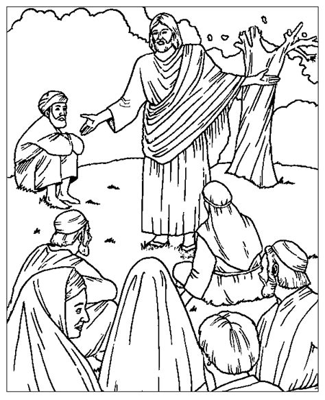 coloring page jesus preaching the sermon on the mount