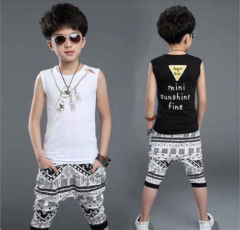 whats the fashion for boys in 2015 new 2015 summer style teenager big boys brand clothing set