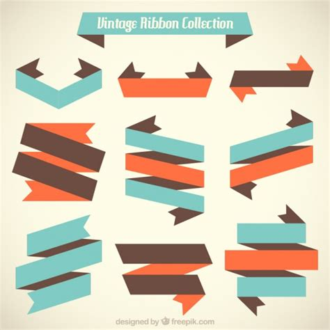 Flat Gold Ribbon collection of vintage flat ribbon vector free