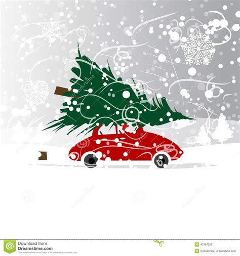 car with christmas tree winter blizzard for your stock