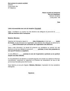 Lettre De Demission Comite Entreprise Modele Lettre Candidature Election Comite D Entreprise