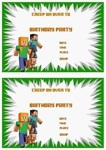 minecraft birthday invitations birthday printable