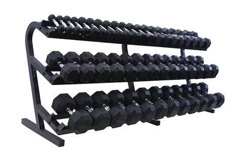 Rak Dumbbell vtx 3 100lb rubber coated dumbbells with rack