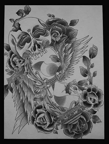 hourglass skull tattoo designs artistic skull hourglass design black and white