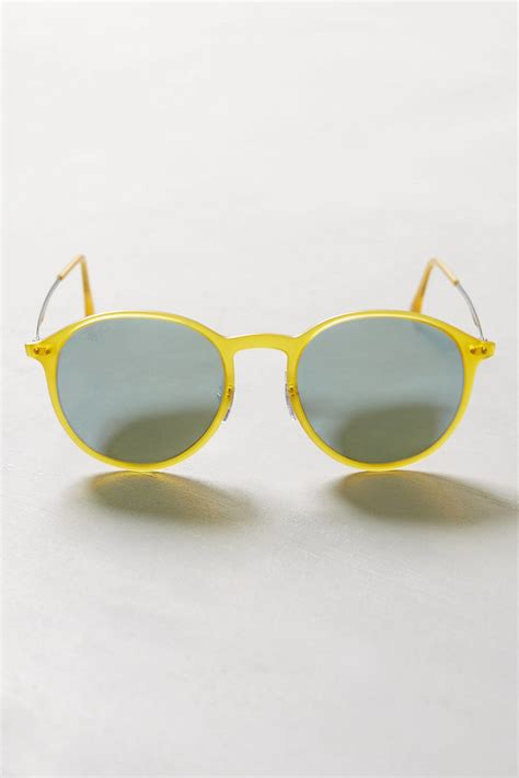ray ban round light ray ray ban lightray round sunglasses in yellow lyst