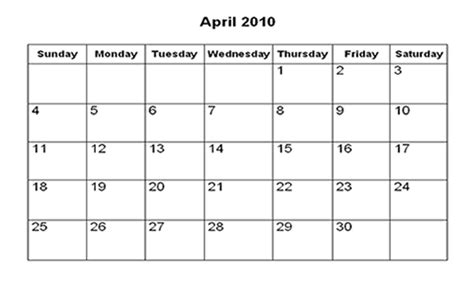 April 2010 Calendar 301 Moved Permanently