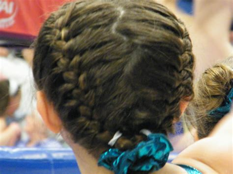gymnastics picture hair style braided pony gymnastics hair and ponies on pinterest