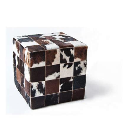 cowhide ottoman cube cowhide cube pouf ottoman mosaic brown white fur home