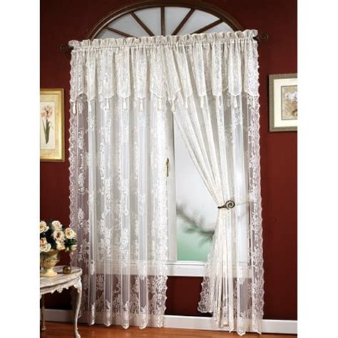 curtains 63 long carly lace curtain panel with attached valance with