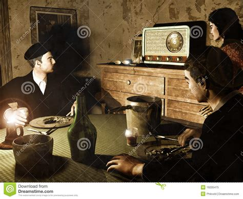 listening radio stock image image glass kids