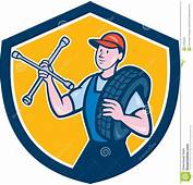 Desenhos Animados Do Protetor De With Tire Wrench Mec&226nico