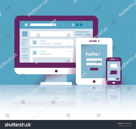 mobile login on computer computer tablet mobile phone social network stock vector
