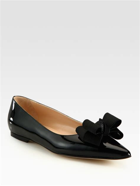 manolo flat shoes manolo blahnik patent leather and silkblend point toe bow