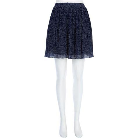 river island navy polka dot pleated mini skirt in blue