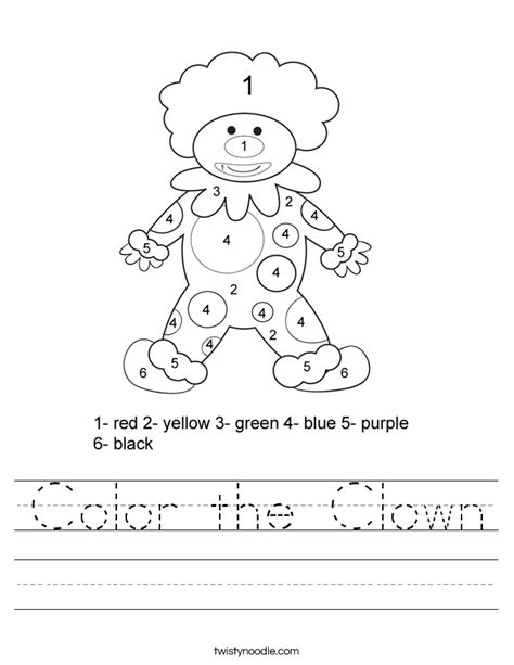 Clown Worksheets color the clown worksheet twisty noodle