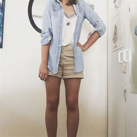 Roster Outer Denim Blouse 50 beige shorts to team with any colour in
