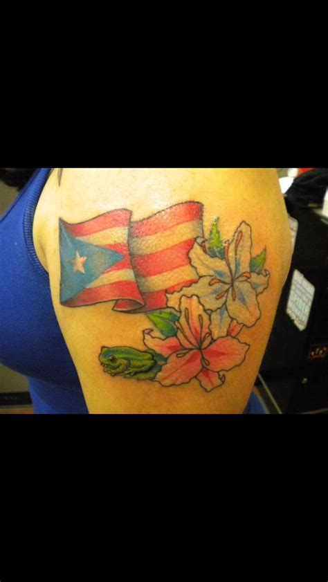 puerto rican flower tattoo flag with coqui and lilies nephtali