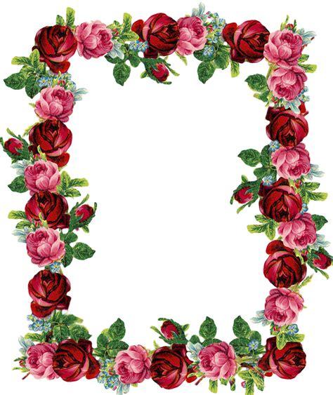 rose pattern png free digital vintage rose frame and border png with
