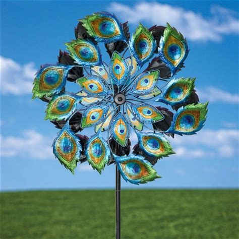 Garden Spinners And Decor Peacock Solar Multi Color Wind Spinner Outdoor Lawn Garden Decor Fastfurnishings