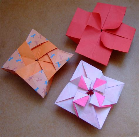 Origami Box Flower - origami boxes shruiken box and flower box flickr