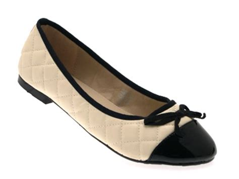 womens quilted bow patent toe ballet pumps mules shoes
