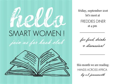 book club invitation template book club invites turquoise hello book club invites