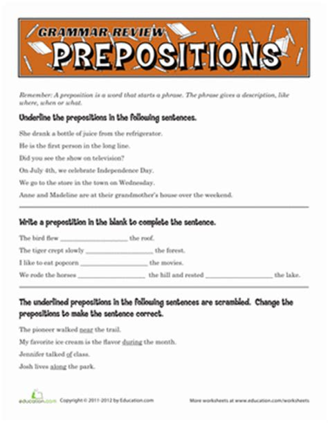 printable english worksheets 5th grade grammar review prepositions worksheet education com