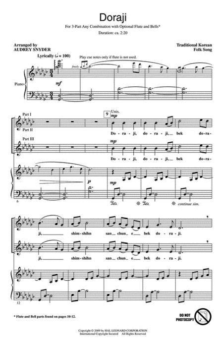Sheet music: Doraji (3-Part Mixed)