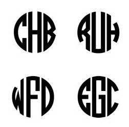 unique three letter circle monogram stencil
