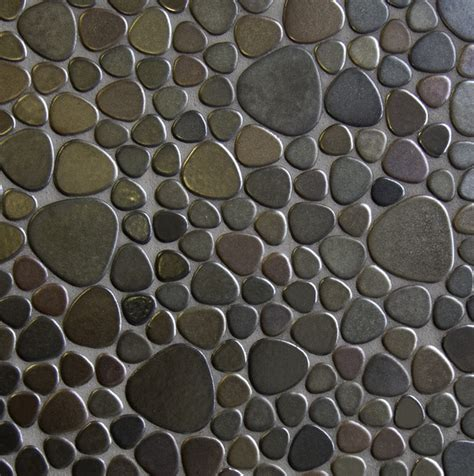 pebbles metallic glazes porcelain tile mosaic
