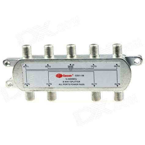 gs01 08 8 x 1 8 way 5 2400mhz splitter all ports power pass for satv catv silver free