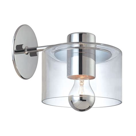 Chrome Wall Sconce Modern Sconce Wall Light With Clear Glass In Polished Chrome Finish 4801 01 Destination Lighting
