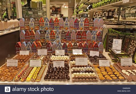 the loveliest chocolate shop in a novel with recipes belgian chocolate shop window brugge belgium stock photo