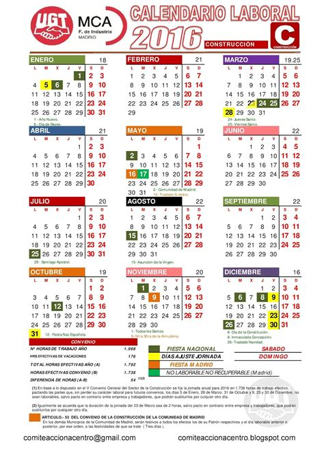 Calendario Laboral 2017 Madrid Capital Comit 201 Acciona Centro Calendario Laboral 2016