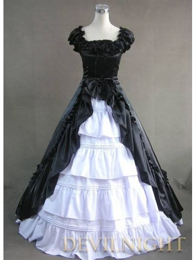classic black  white short sleeves bow gothic victorian