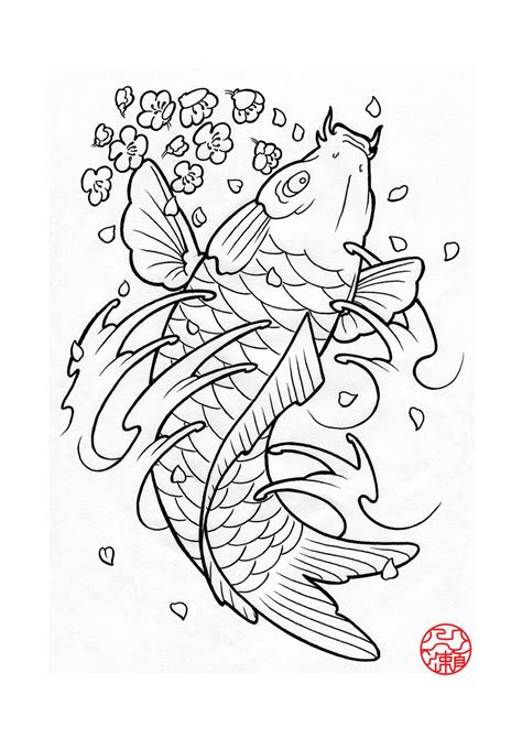 Two Koi Fish Outline by Peony Flower Coloring Coloring Pages