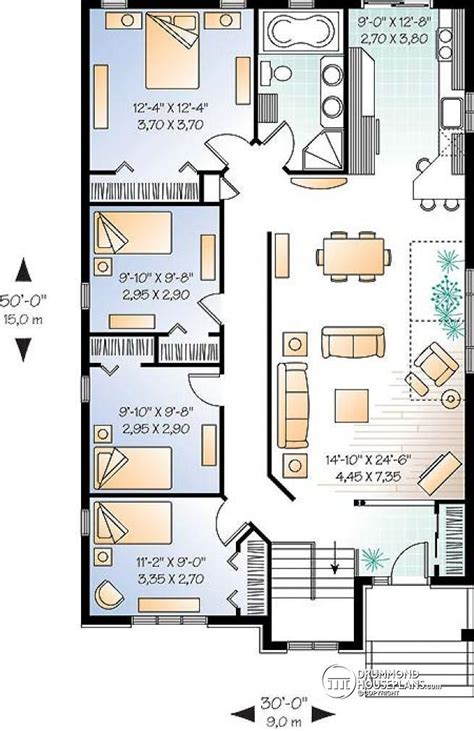 Narrow Lot Bungalow House Plans by W3314 Affordable Simple Four Bedroom Bungalow House