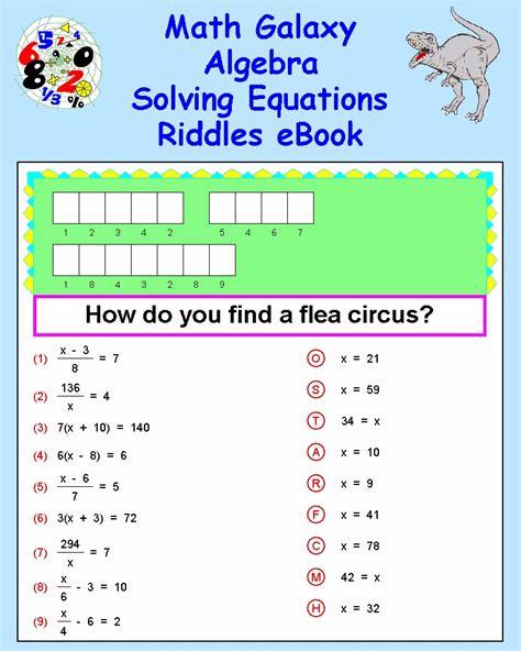 printable games for solving equations math riddle worksheets lesupercoin printables worksheets