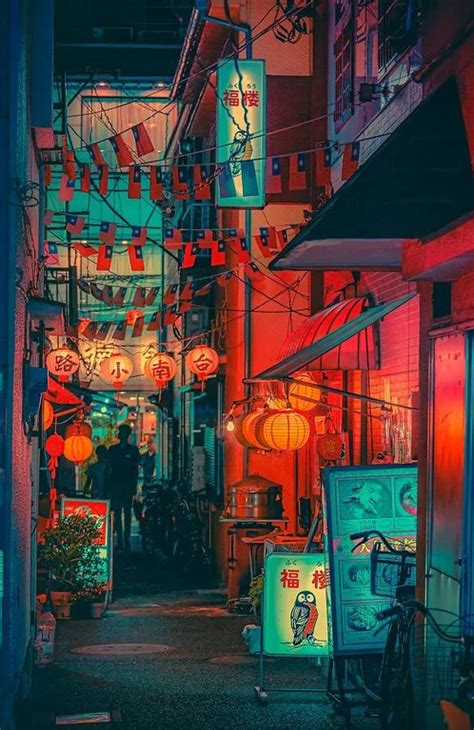 alley  yokohama japan neoncities