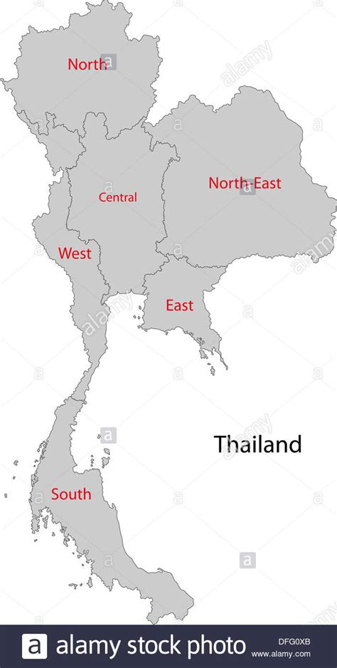 East West Detox Thailand by Grey Thailand Map Stock Photo Royalty Free Image