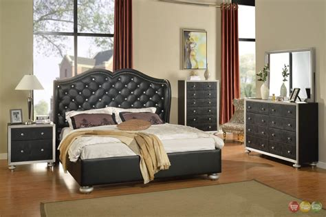 tufted bedroom furniture black button tufted wing back bed faux croc bedroom