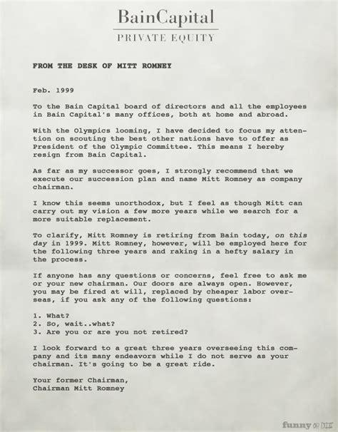 Comments Best Resignation Letter Mitt Romney S Resignation Letter From Bain Capital From As Usual