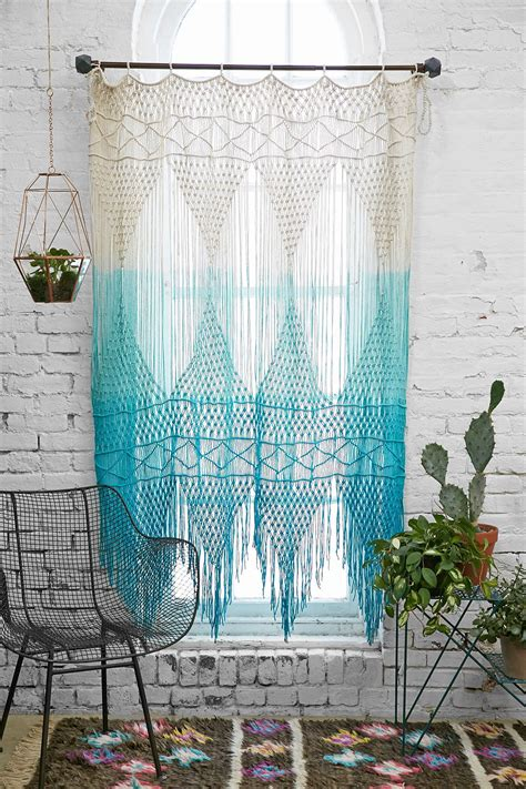 curtains on wall blue multicolor ombre crochet magical thinking safi wall